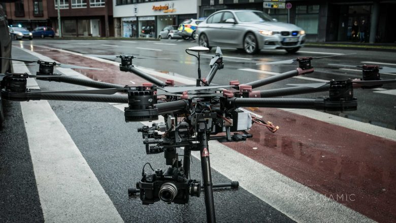 Drone Action inside of Cologne City central